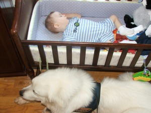 Watching for seizure when Hudson was one.