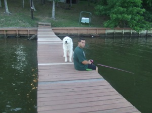 Fishing with Mikey.